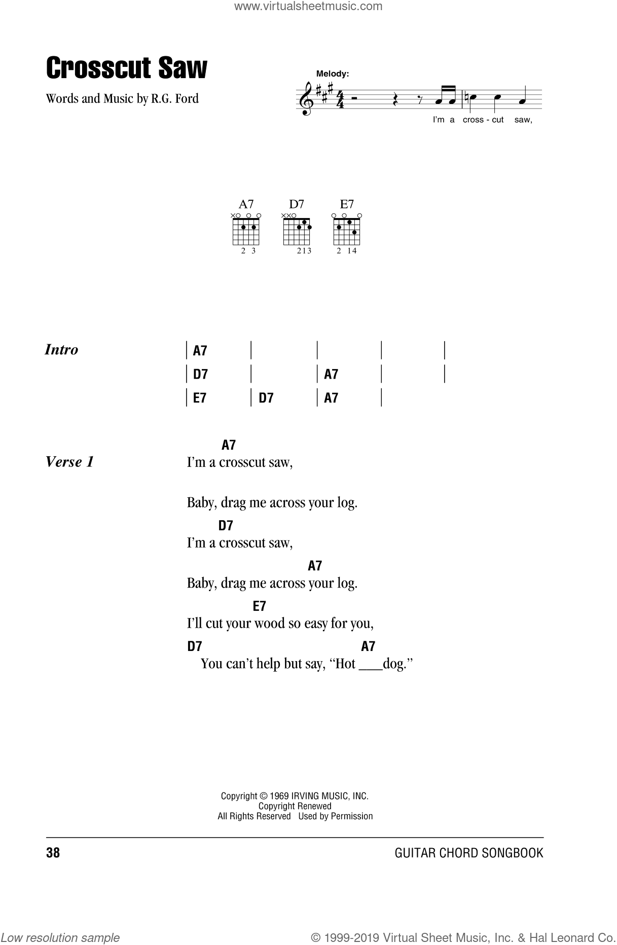 Crosscut Saw sheet music for guitar (chords) by Eric Clapton, Albert King and Robben Ford, intermediate guitar (chords). Score Image Preview.