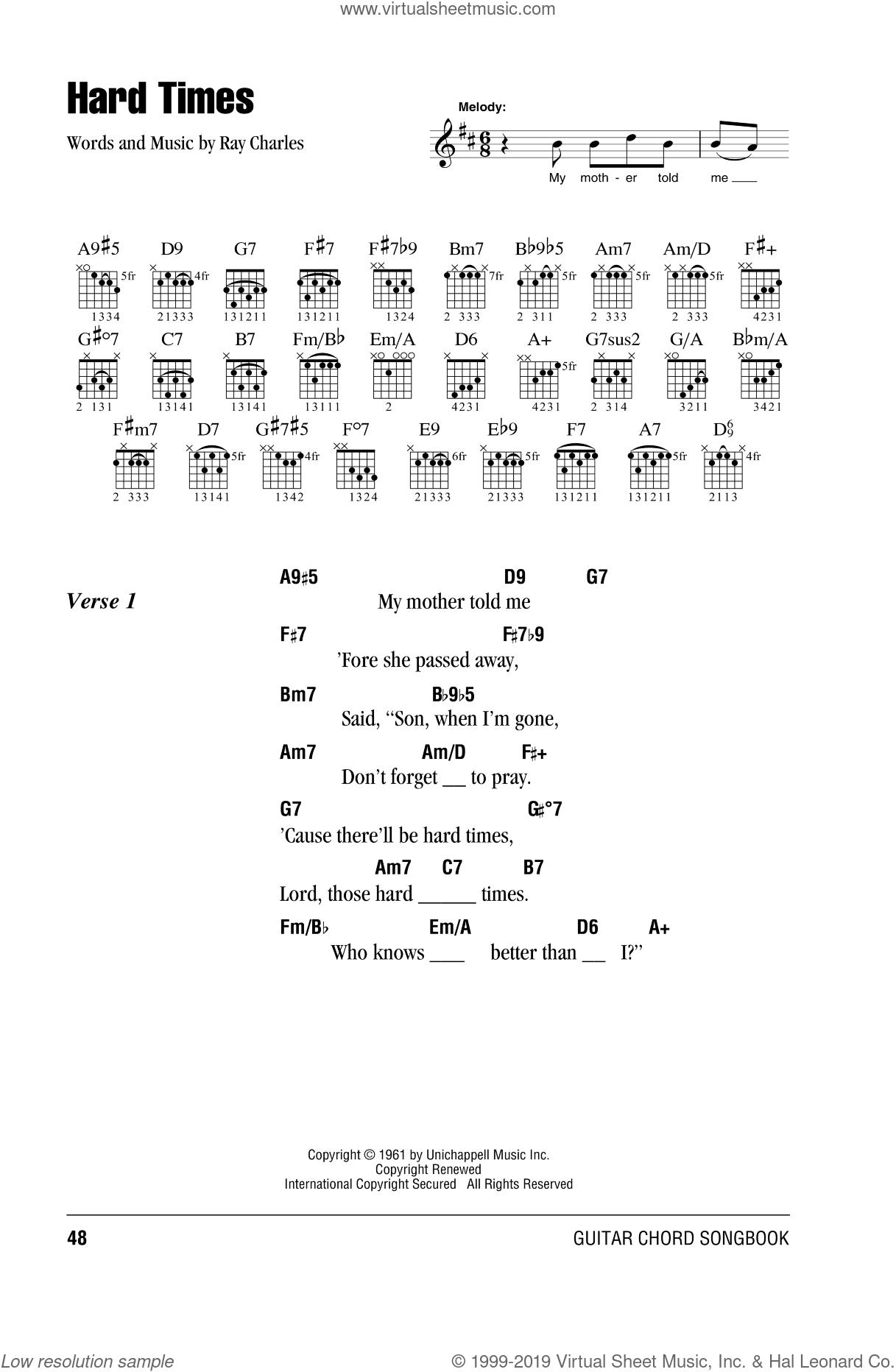 Clapton   Hard Times sheet music for guitar chords [PDF]