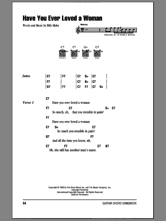Have You Ever Loved A Woman sheet music for guitar (chords) by Eric Clapton, intermediate guitar (chords). Score Image Preview.