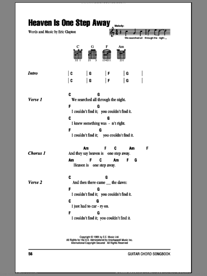 Heaven Is One Step Away sheet music for guitar (chords) by Eric Clapton, intermediate guitar (chords). Score Image Preview.