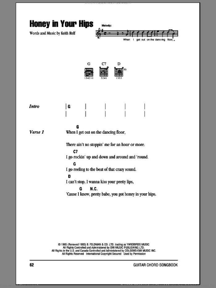 Honey In Your Hips sheet music for guitar (chords) by Keith Relf and Eric Clapton. Score Image Preview.