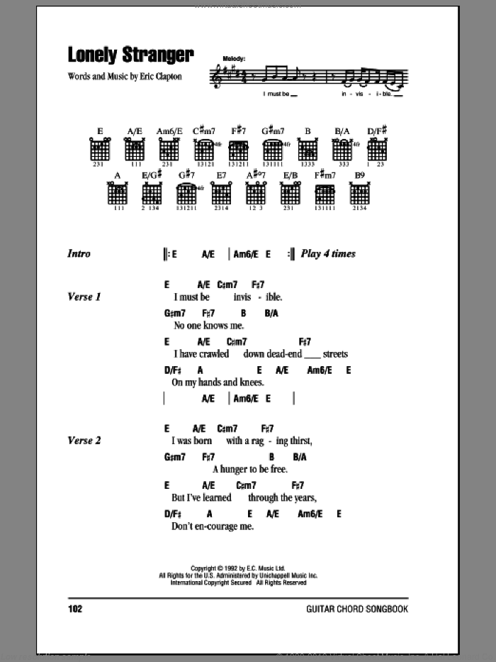 Lonely Stranger sheet music for guitar (chords) by Eric Clapton. Score Image Preview.
