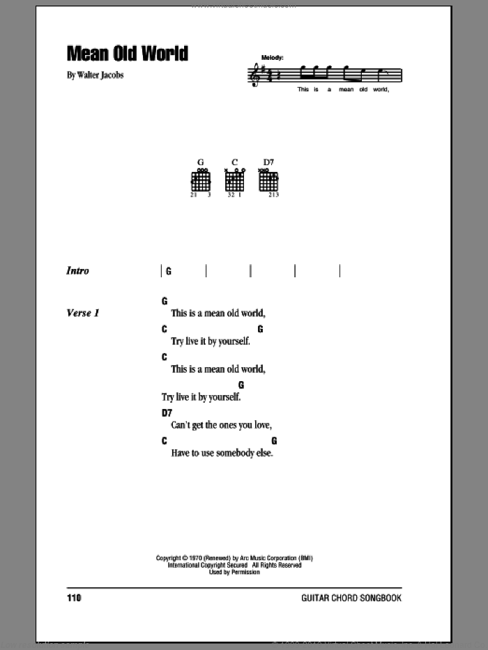 Mean Old World sheet music for guitar (chords) by Eric Clapton and Walter Jacobs, intermediate skill level