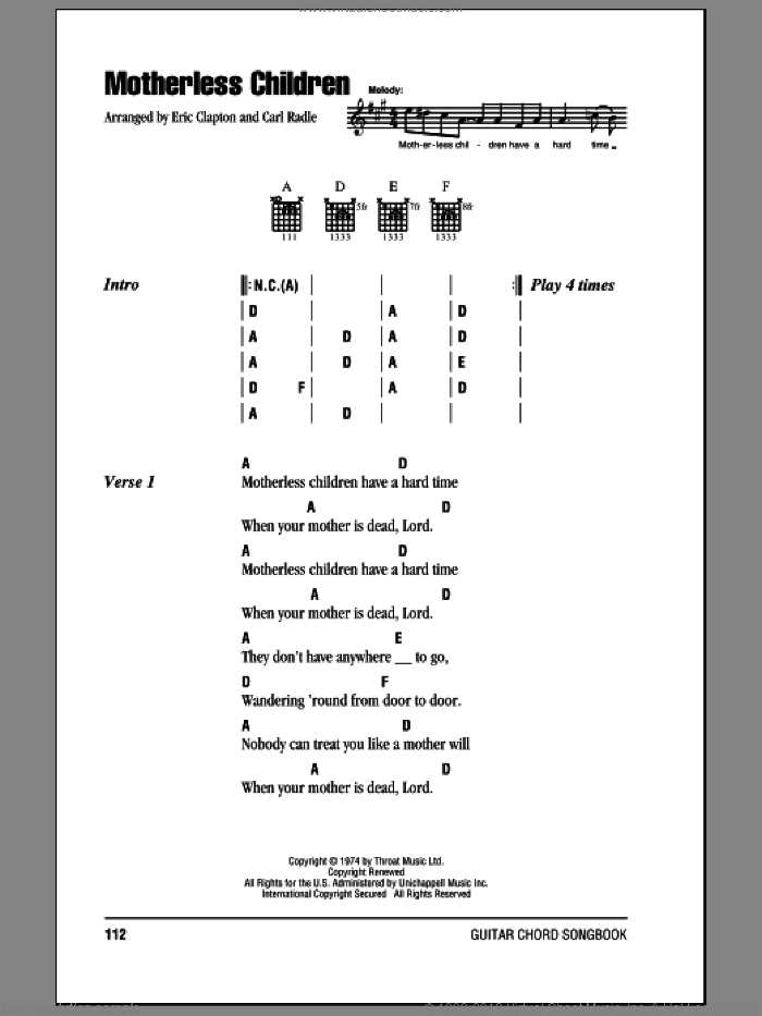 Motherless Children sheet music for guitar (chords) by Eric Clapton. Score Image Preview.
