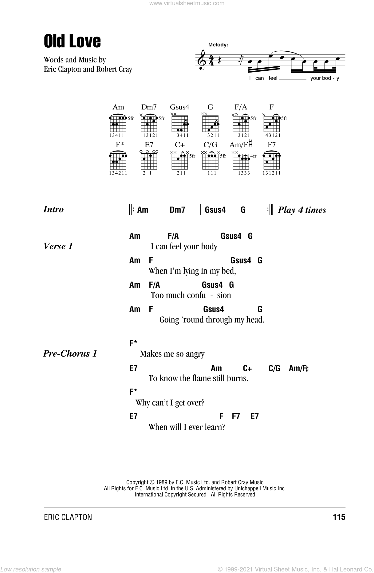 Old Love sheet music for guitar (chords) by Eric Clapton