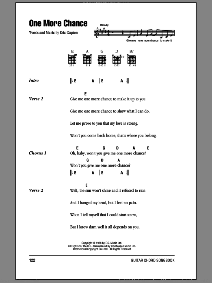 One More Chance sheet music for guitar (chords) by Eric Clapton, intermediate guitar (chords). Score Image Preview.