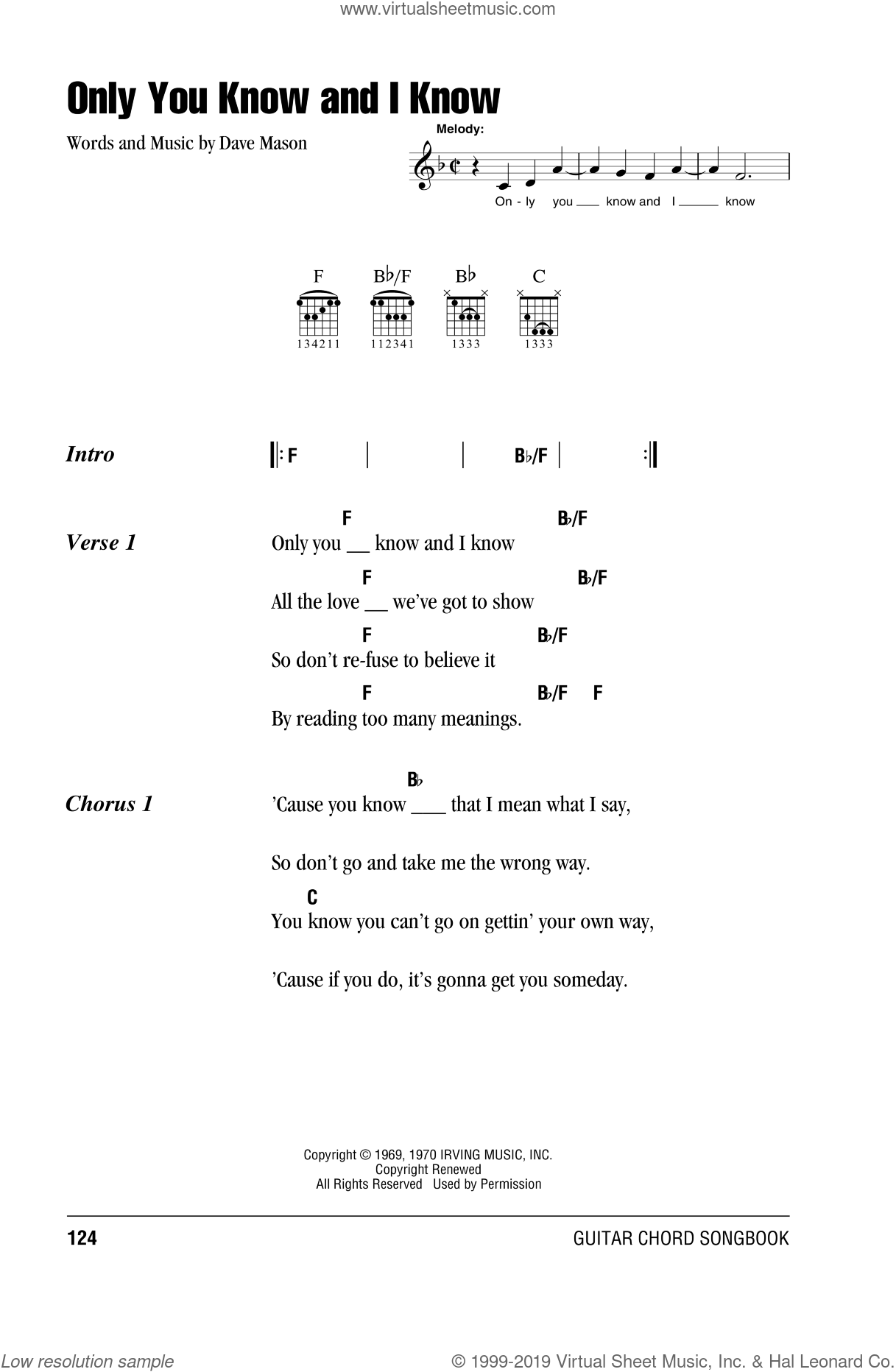 Only You Know And I Know sheet music for guitar (chords) by Dave Mason