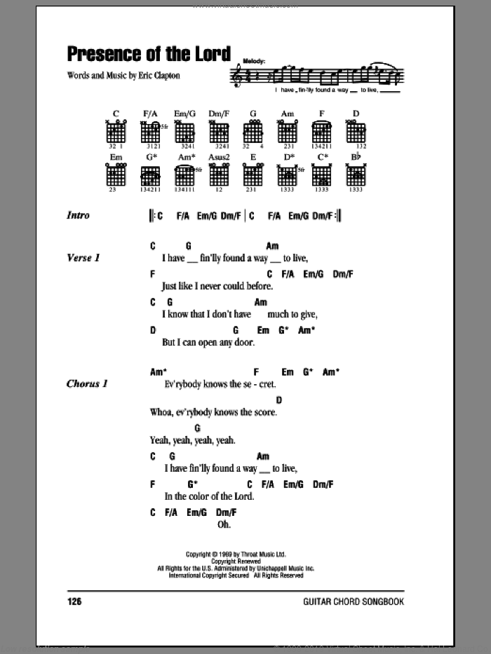Presence Of The Lord sheet music for guitar (chords) by Eric Clapton. Score Image Preview.