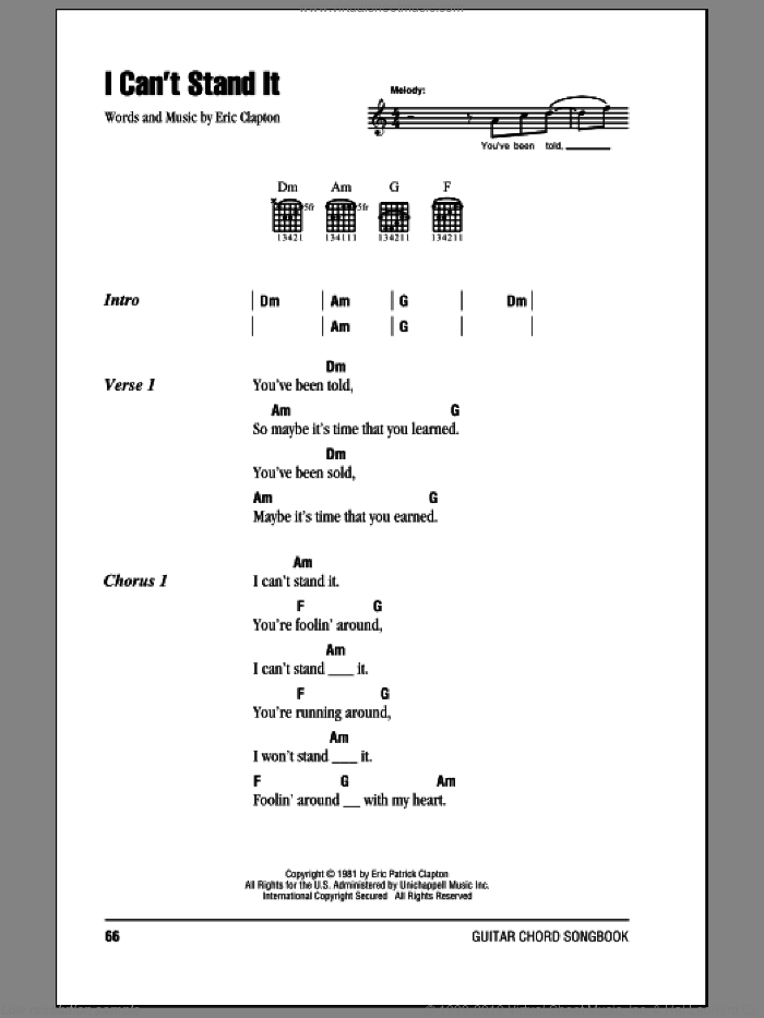 I Can't Stand It sheet music for guitar (chords) by Eric Clapton, intermediate