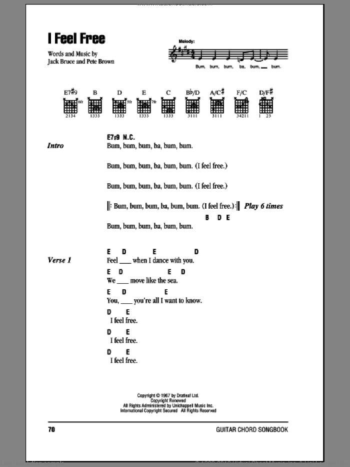 I Feel Free sheet music for guitar (chords) by Pete Brown, Cream, Eric Clapton and Jack Bruce. Score Image Preview.