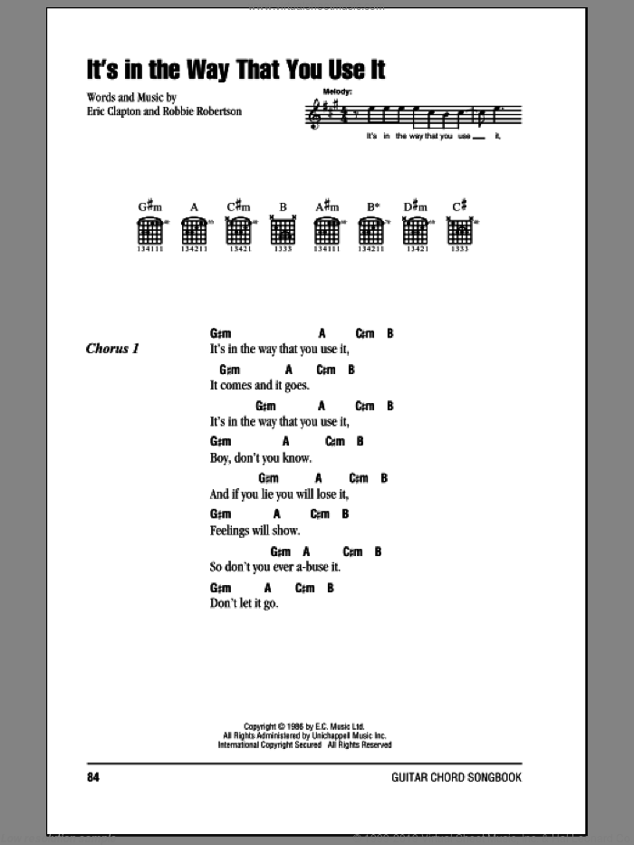It's In The Way That You Use It sheet music for guitar (chords) by Robbie Robertson and Eric Clapton. Score Image Preview.