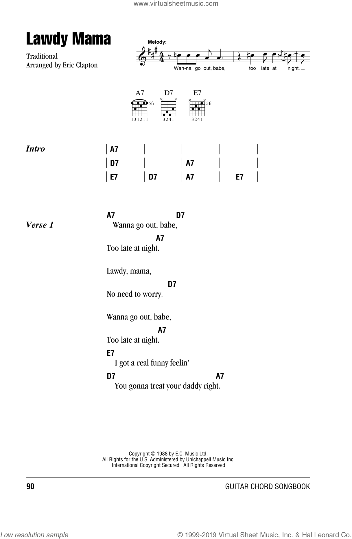 Lawdy Mama sheet music for guitar (chords) by Cream and Eric Clapton. Score Image Preview.