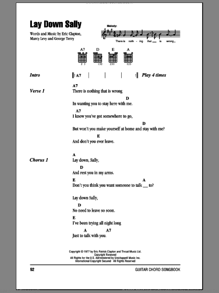 Lay Down Sally sheet music for guitar (chords) by Marcy Levy, Eric Clapton and George Terry. Score Image Preview.