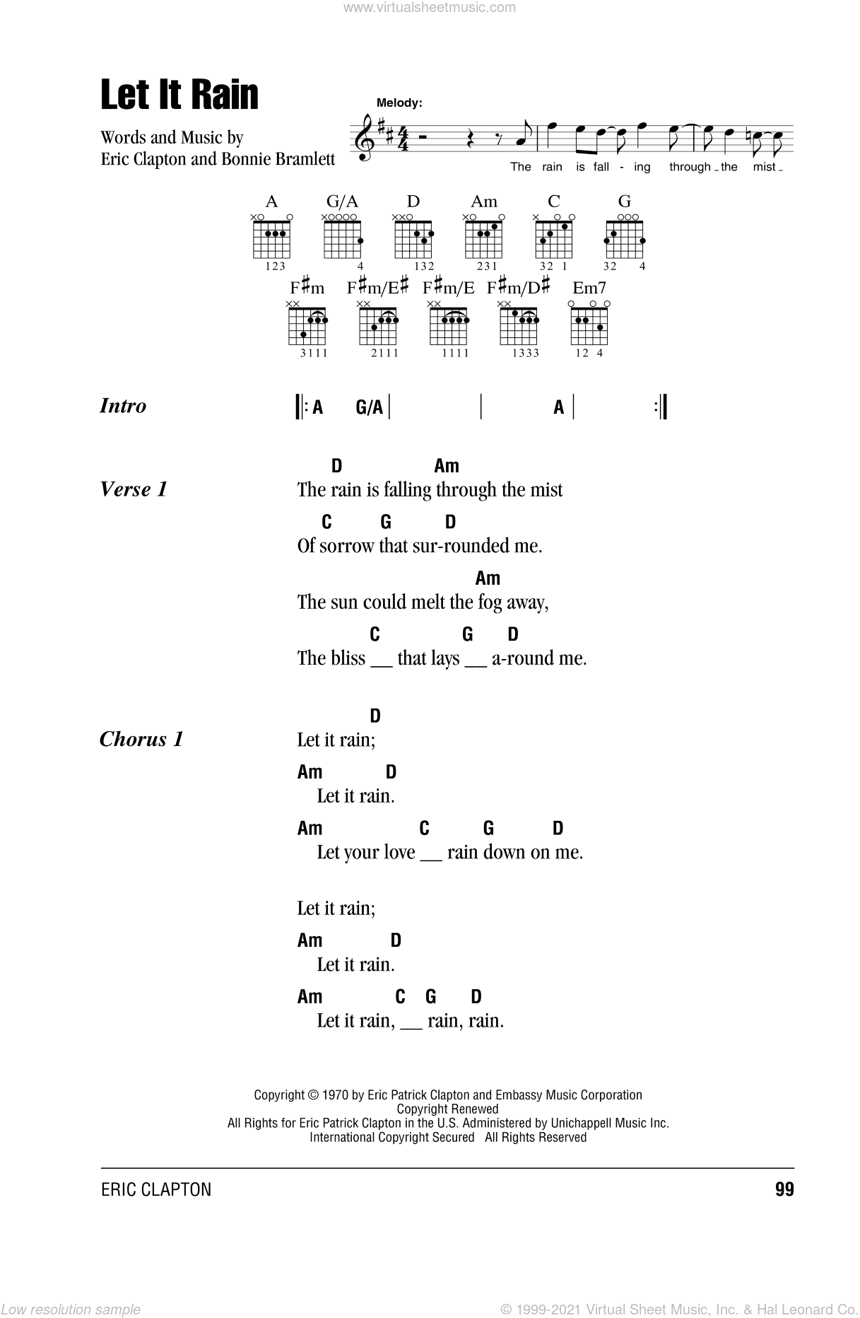 Let It Rain sheet music for guitar (chords) by Bonnie Bramlett and Eric Clapton. Score Image Preview.