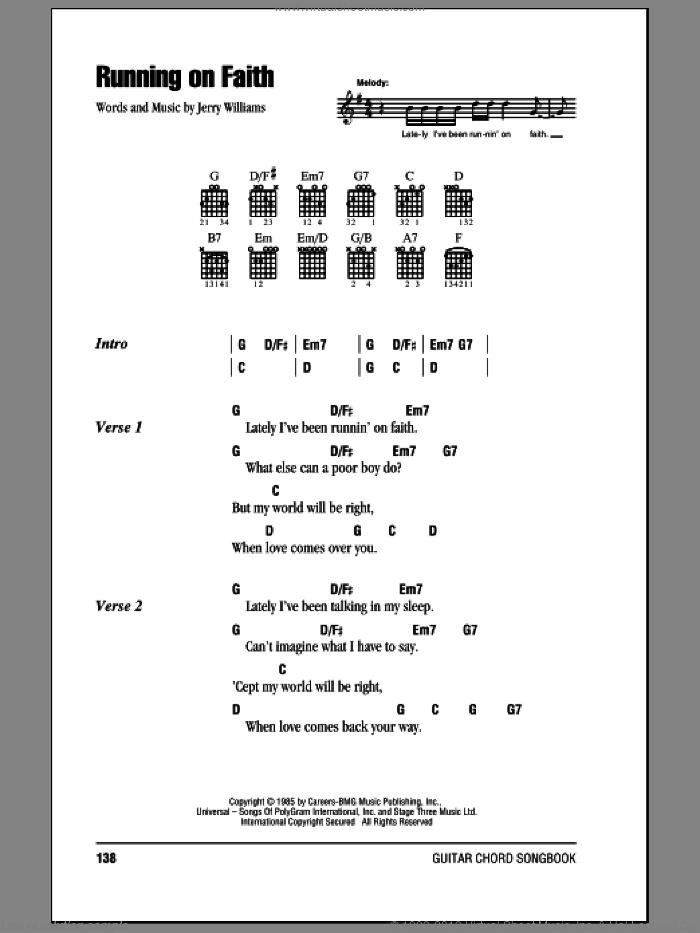 Clapton - Running On Faith sheet music for guitar (chords) [PDF]