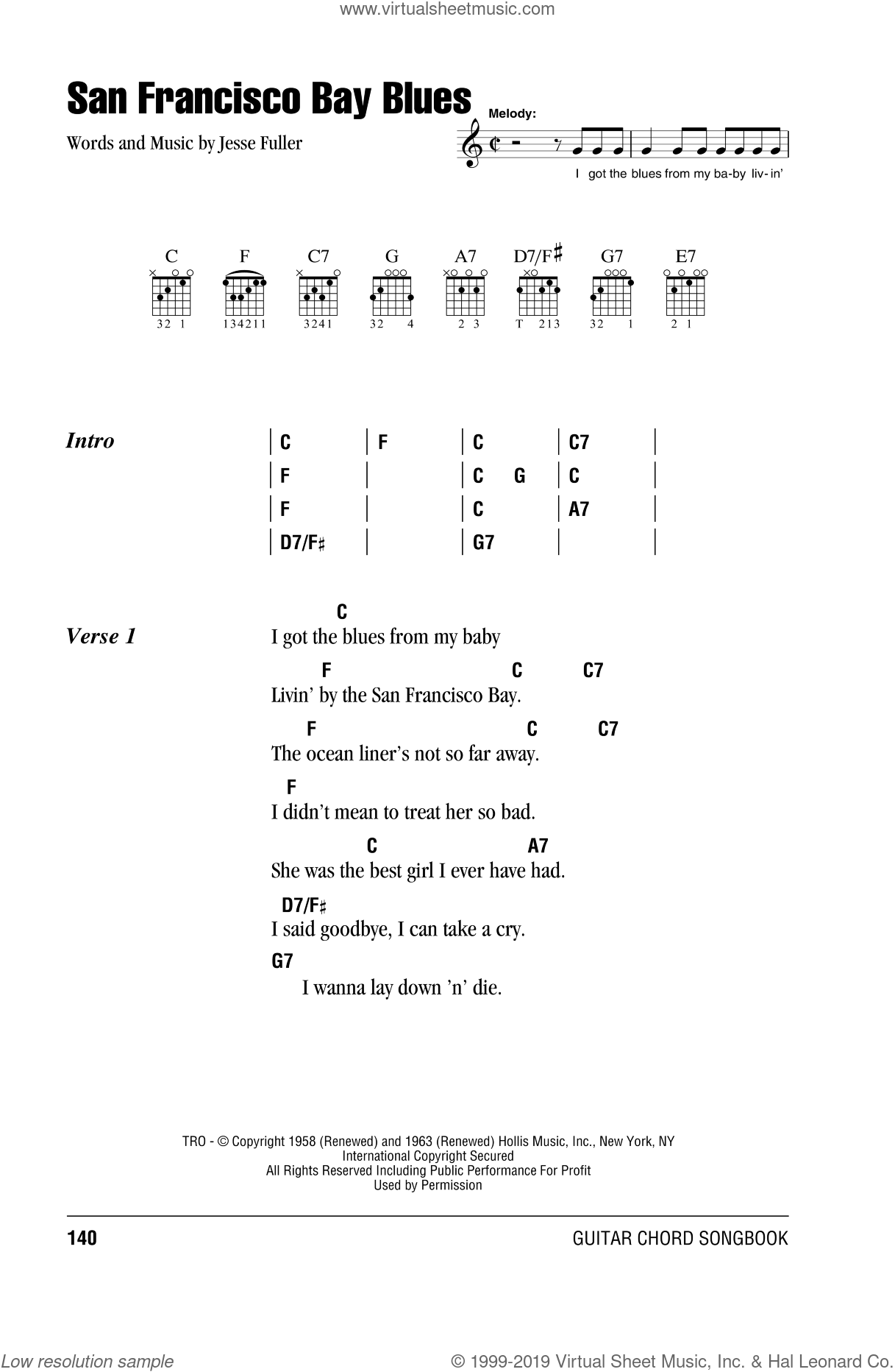 San Francisco Bay Blues sheet music for guitar (chords) by Jesse Fuller and Eric Clapton. Score Image Preview.