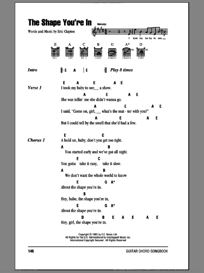 Clapton - The Shape You\'re In sheet music for guitar (chords)