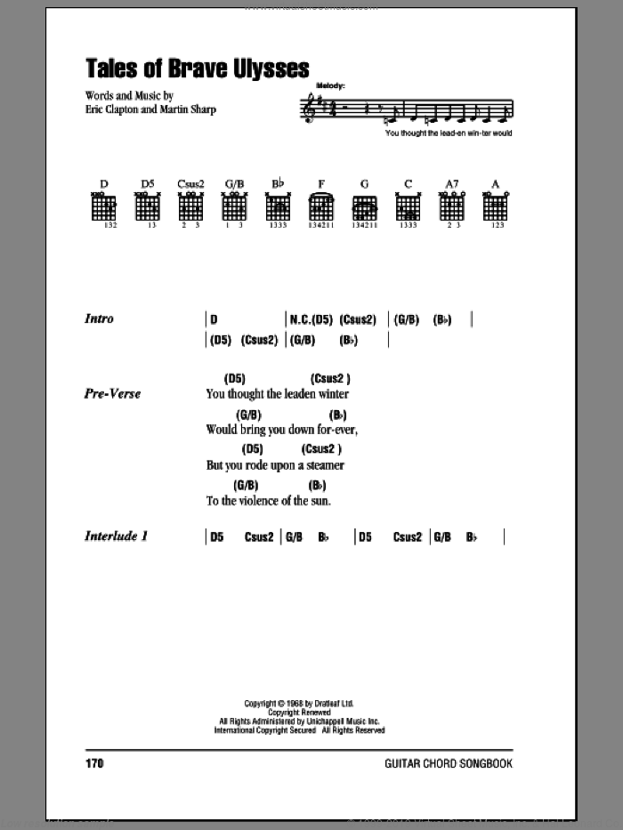 Tales Of Brave Ulysses sheet music for guitar (chords) by Martin Sharp and Eric Clapton. Score Image Preview.
