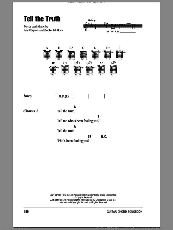 Tell The Truth sheet music for guitar (chords) by Eric Clapton and Bobby Whitlock, intermediate skill level