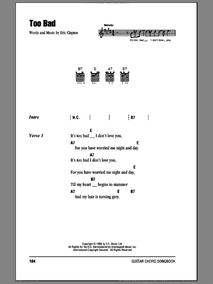 Too Bad sheet music for guitar (chords) by Eric Clapton, intermediate. Score Image Preview.