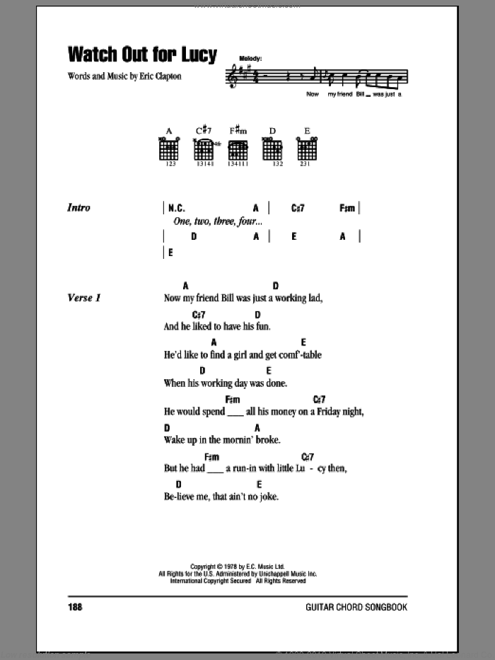 Watch Out For Lucy sheet music for guitar (chords) by Eric Clapton. Score Image Preview.