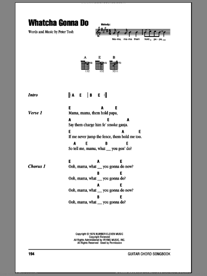 Whatcha Gonna Do sheet music for guitar (chords) by Eric Clapton and Peter Tosh