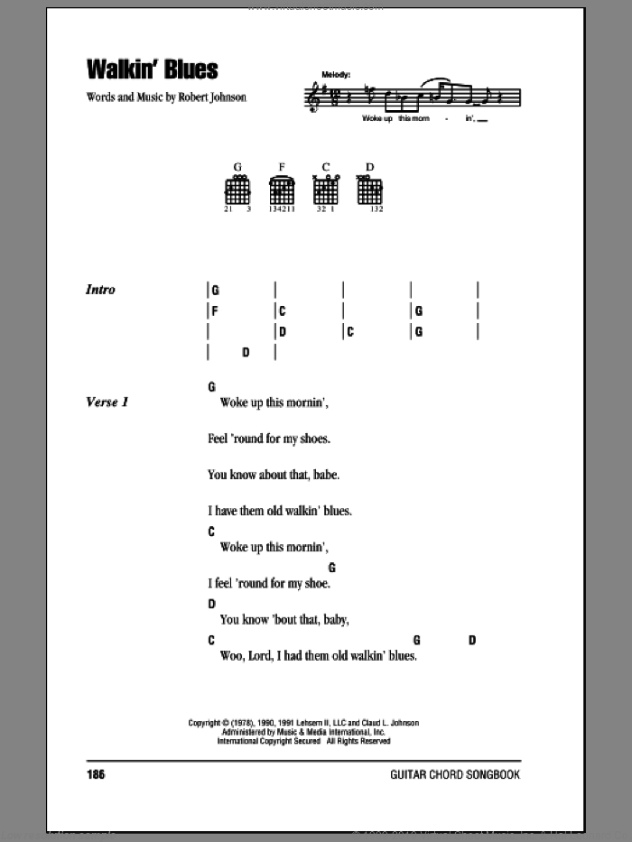 Walkin' Blues sheet music for guitar (chords) by Eric Clapton and Robert Johnson. Score Image Preview.