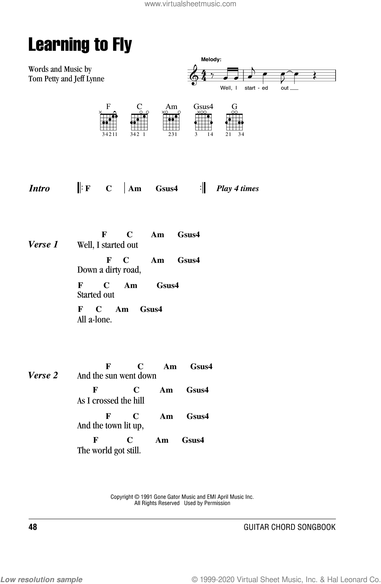 Learning To Fly sheet music for guitar (chords) by Tom Petty And The Heartbreakers, Jeff Lynne and Tom Petty, intermediate. Score Image Preview.