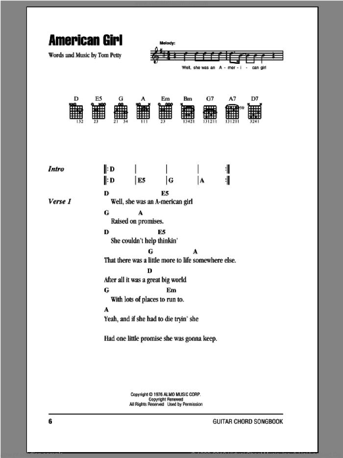 American Girl sheet music for guitar (chords) by Tom Petty And The Heartbreakers and Tom Petty. Score Image Preview.