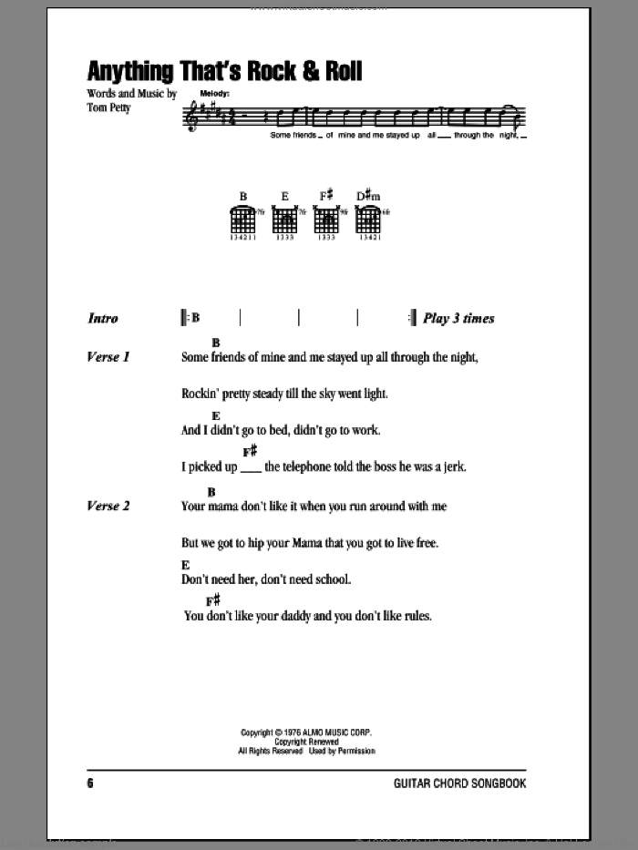 Anything That's Rock and Roll sheet music for guitar (chords) by Tom Petty And The Heartbreakers and Tom Petty. Score Image Preview.