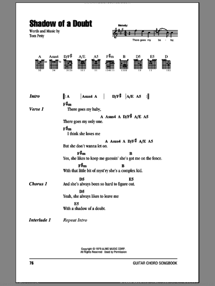 Shadow Of A Doubt sheet music for guitar (chords) by Tom Petty And The Heartbreakers and Tom Petty. Score Image Preview.