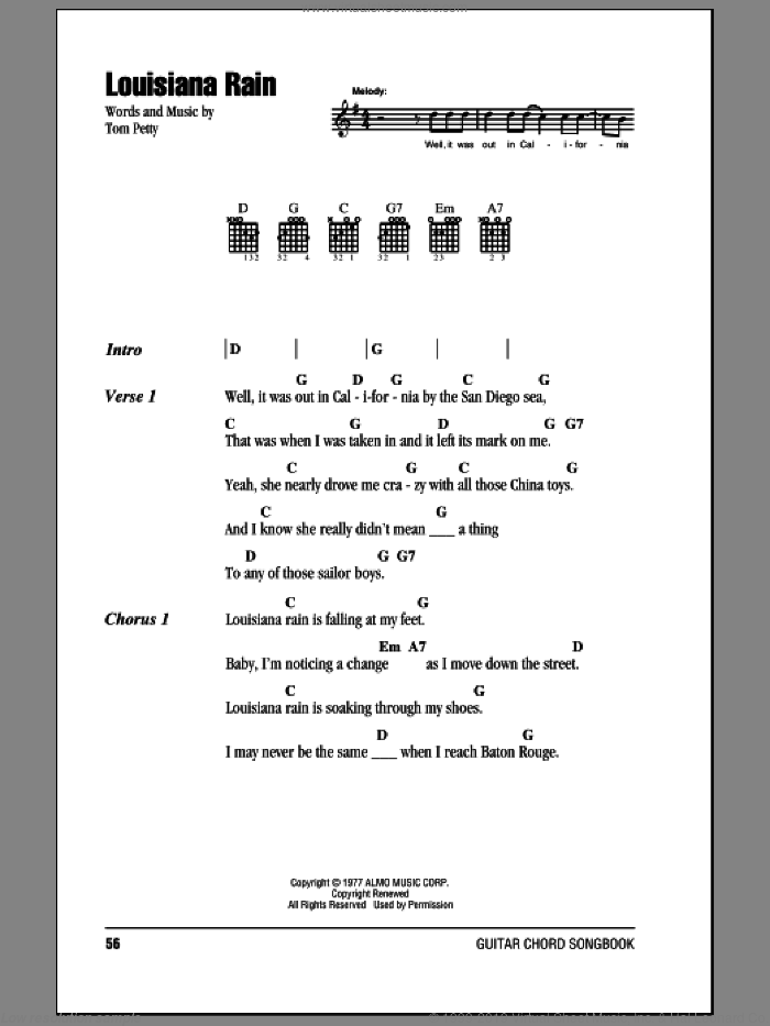 Louisiana Rain sheet music for guitar (chords) by Tom Petty And The Heartbreakers and Tom Petty, intermediate. Score Image Preview.