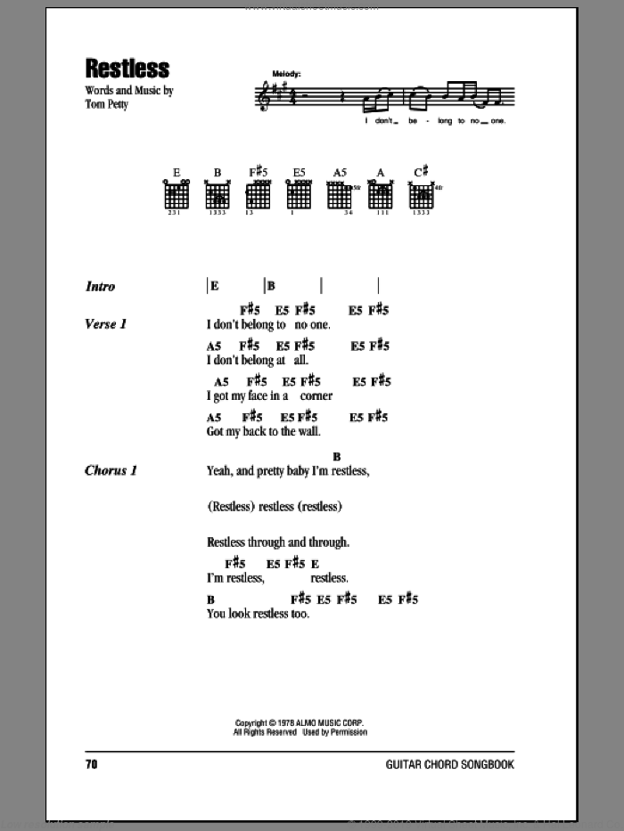 Heartbreakers - Restless sheet music for guitar (chords) [PDF]
