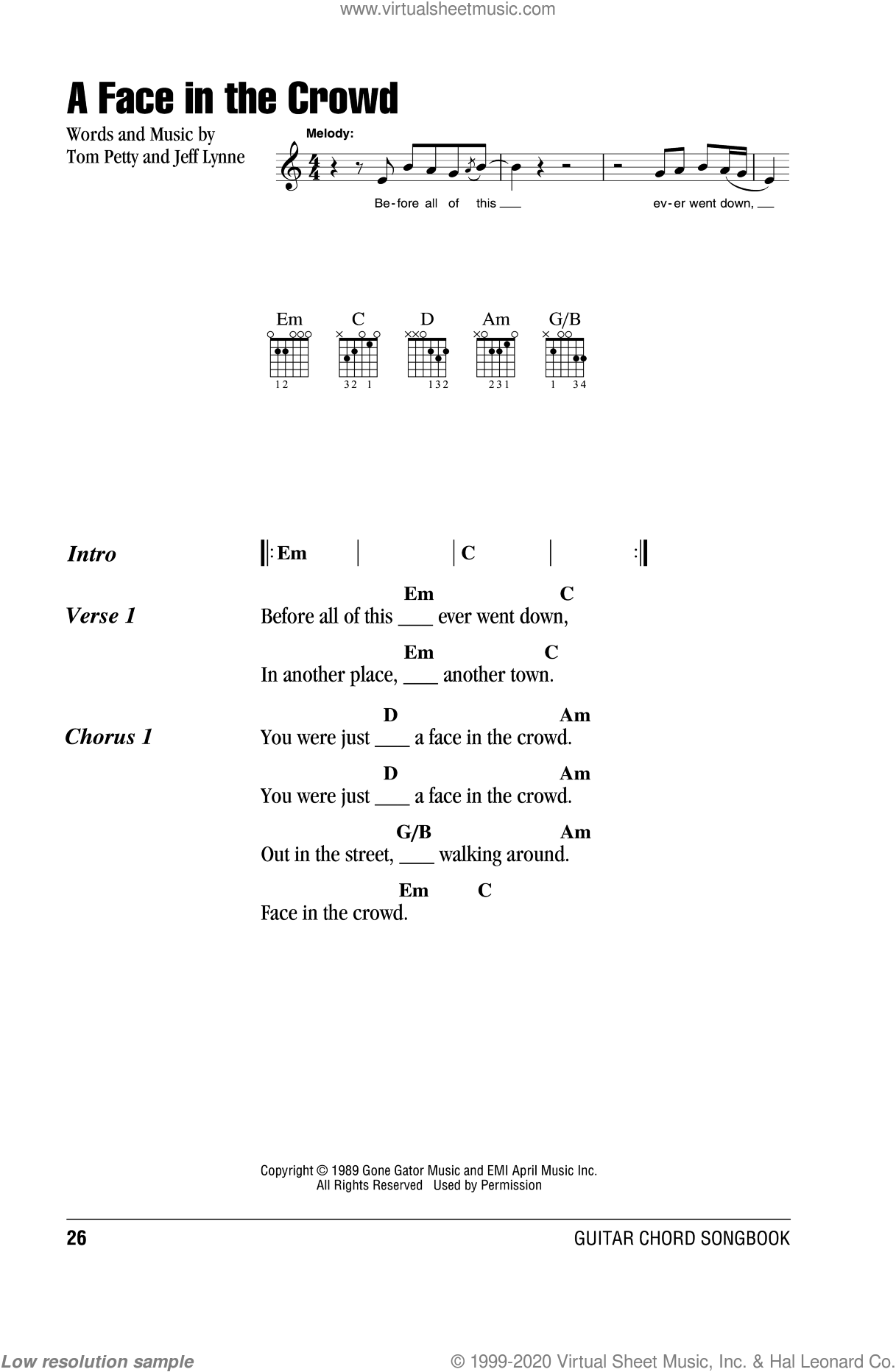 A Face In The Crowd sheet music for guitar (chords, lyrics, melody) by Jeff Lynne