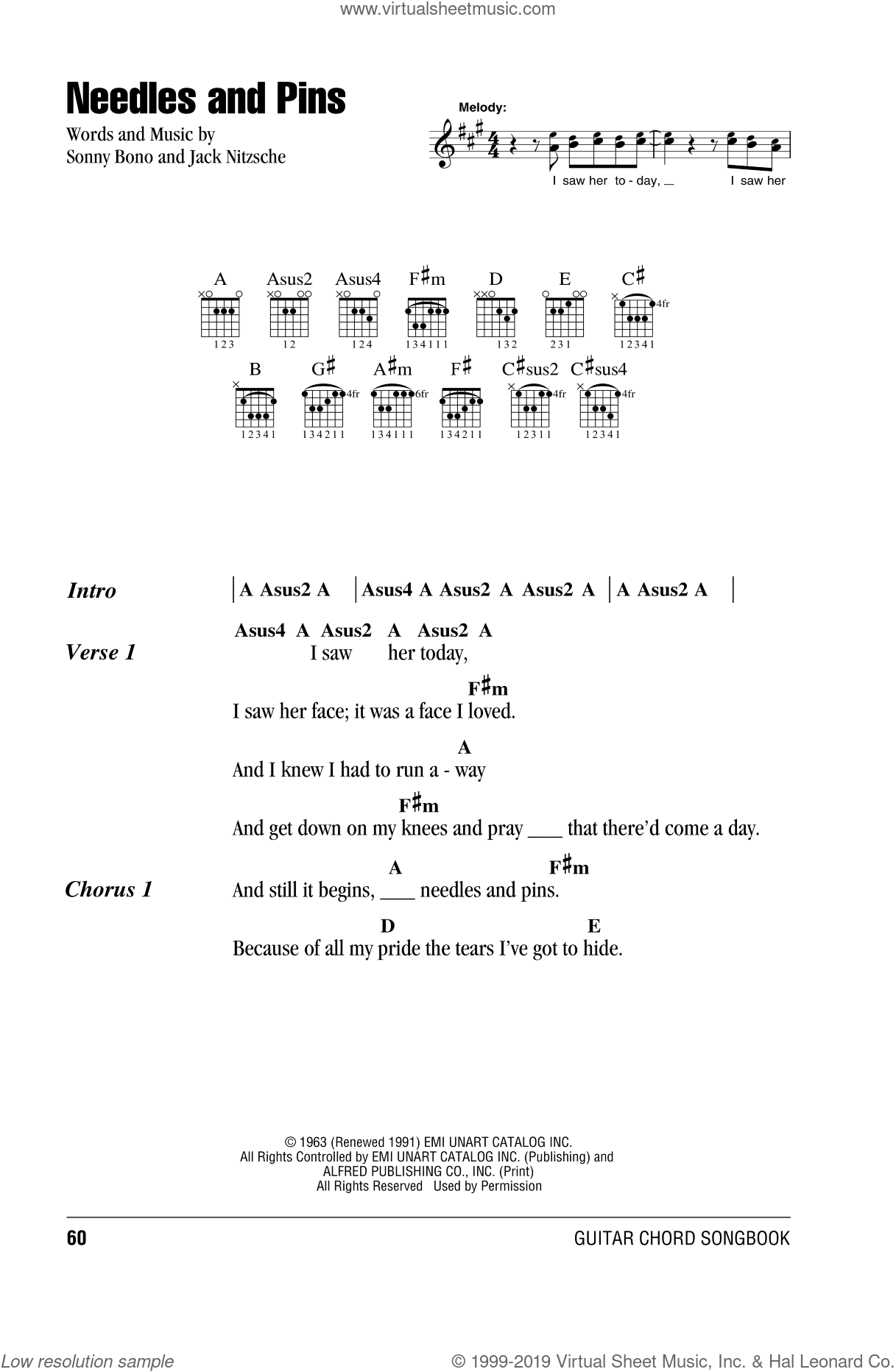 Needles And Pins sheet music for guitar (chords) by Sonny Bono