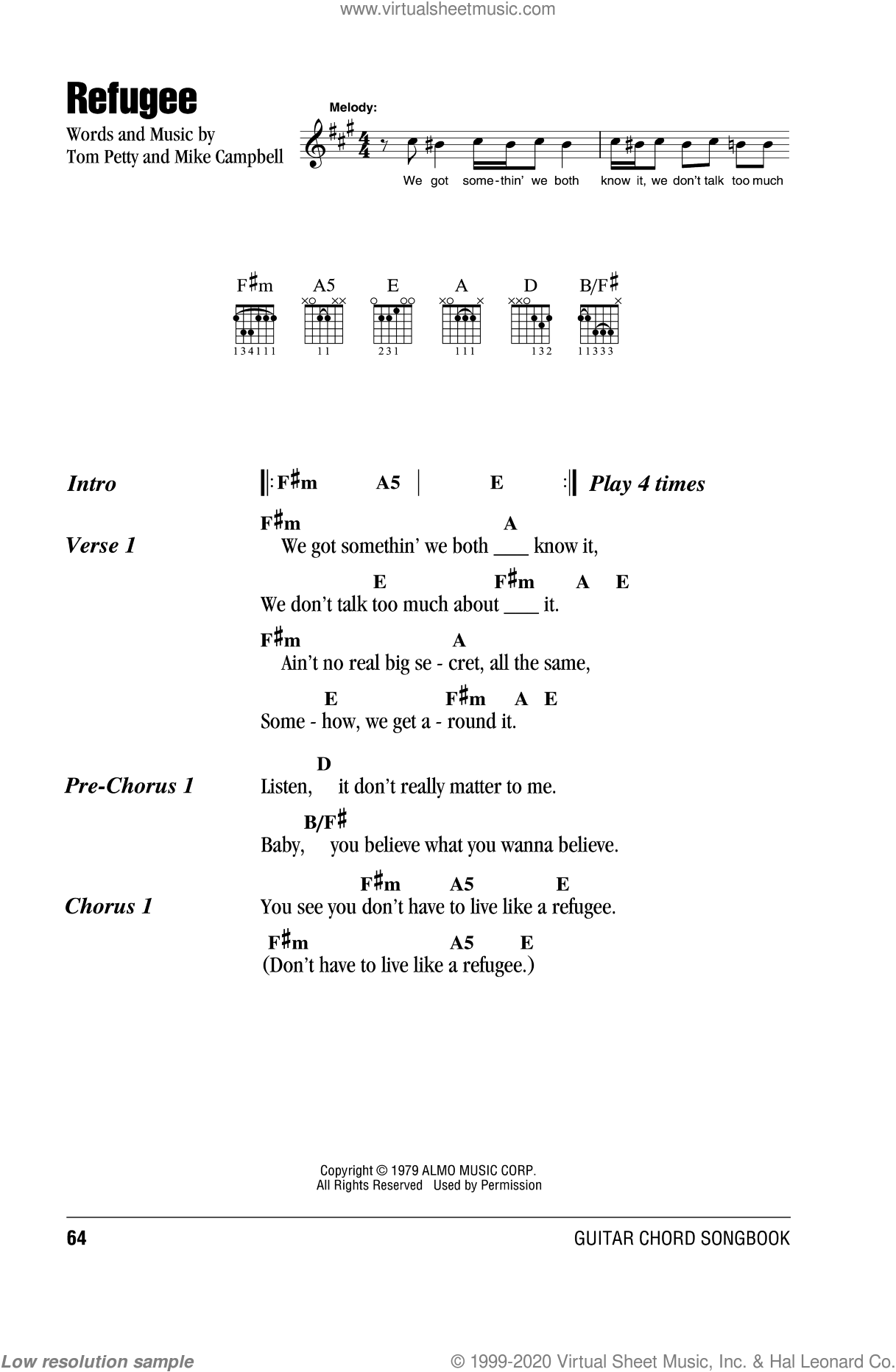 Refugee sheet music for guitar (chords, lyrics, melody) by Mike Campbell