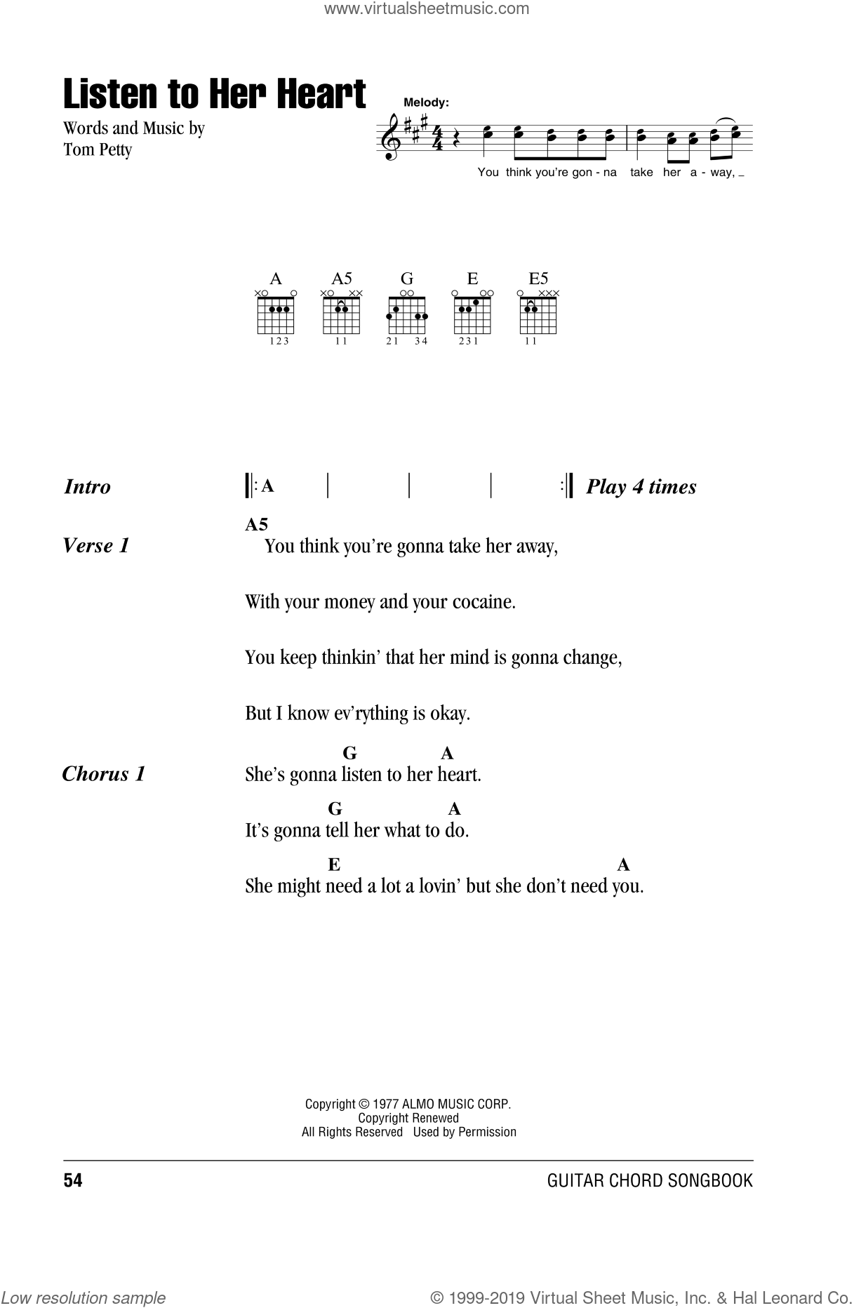 Listen To Her Heart sheet music for guitar (chords) by Tom Petty And The Heartbreakers and Tom Petty, intermediate skill level