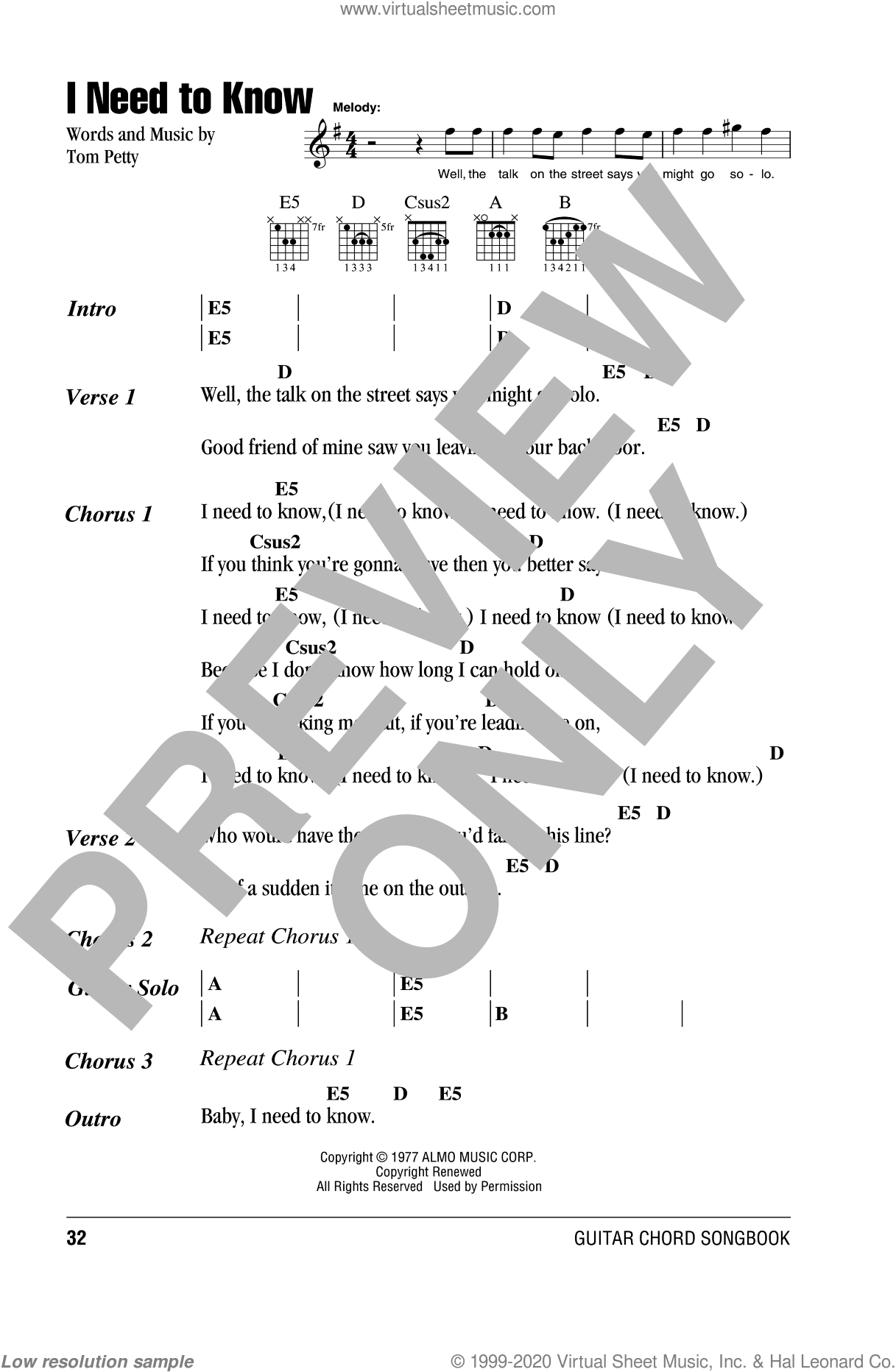 I Need To Know sheet music for guitar (chords) by Tom Petty And The Heartbreakers and Tom Petty, intermediate. Score Image Preview.
