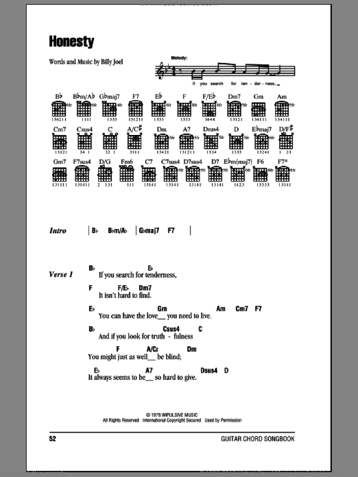 Honesty sheet music for guitar (chords) by Billy Joel. Score Image Preview.