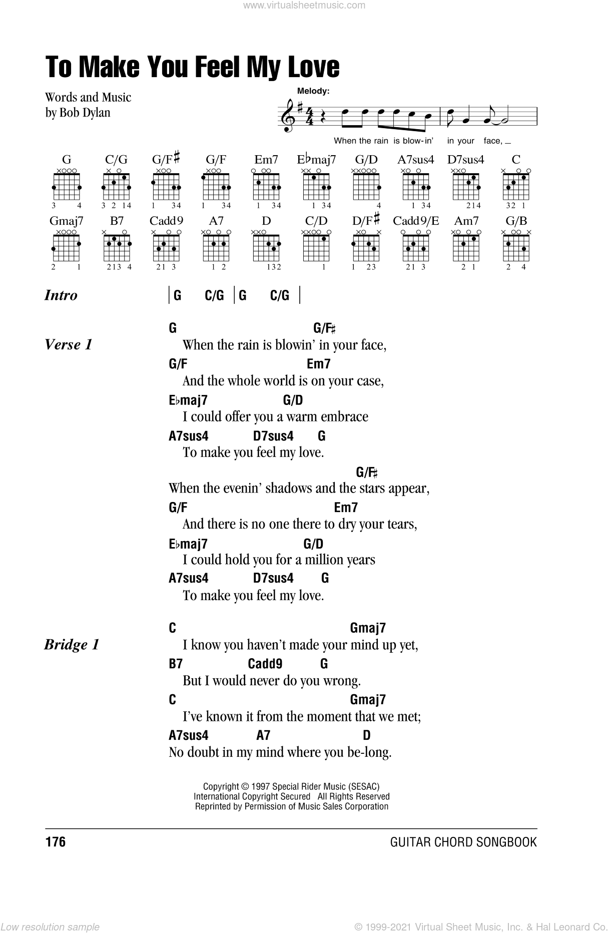 To Make You Feel My Love sheet music for guitar (chords) by Billy Joel and Bob Dylan, intermediate skill level