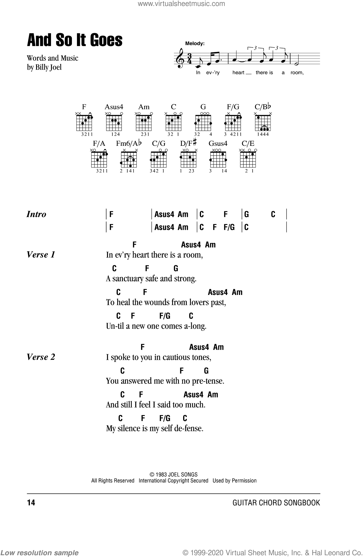 Joel And So It Goes Sheet Music For Guitar Chords Pdf
