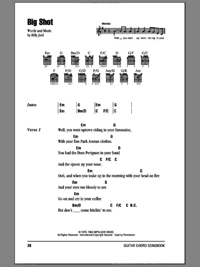 Big Shot sheet music for guitar (chords) by Billy Joel, intermediate. Score Image Preview.