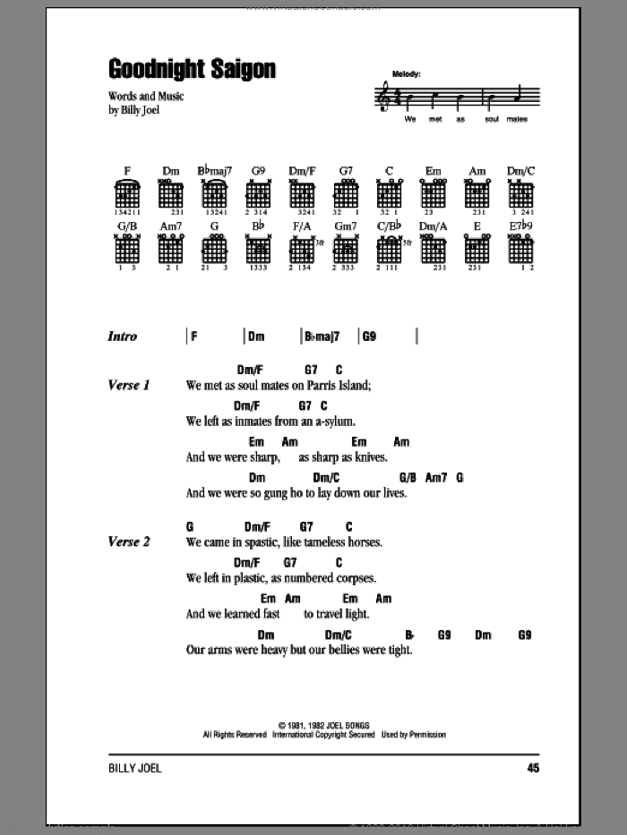 Joel - Goodnight Saigon sheet music for guitar (chords) [PDF]