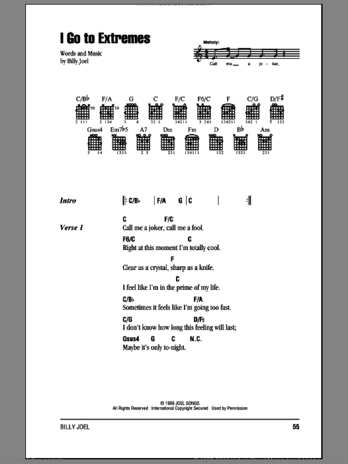 I Go To Extremes sheet music for guitar (chords) by Billy Joel. Score Image Preview.