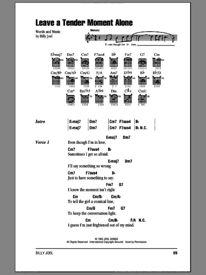 Leave A Tender Moment Alone sheet music for guitar (chords) by Billy Joel, intermediate skill level