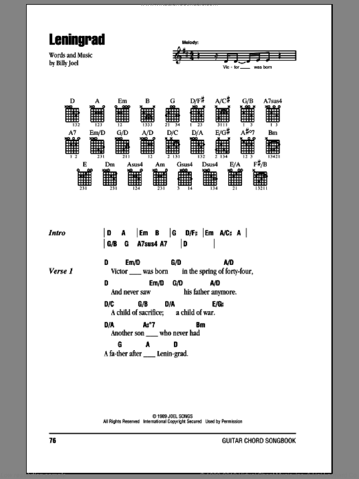 Leningrad sheet music for guitar (chords) by Billy Joel. Score Image Preview.