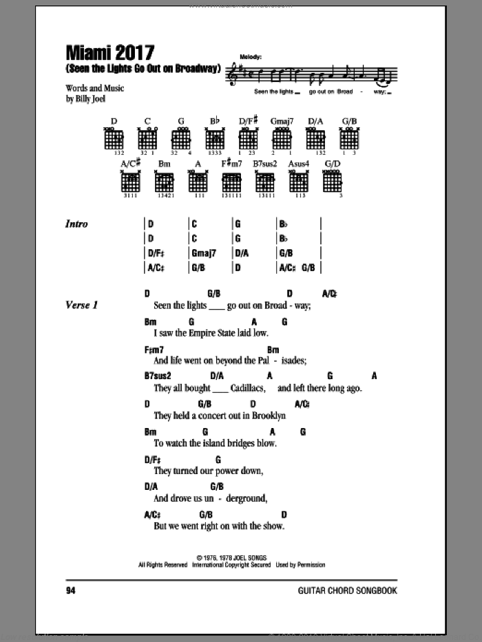 Miami 2017 (Seen The Lights Go Out On Broadway) sheet music for guitar (chords) by Billy Joel, intermediate skill level