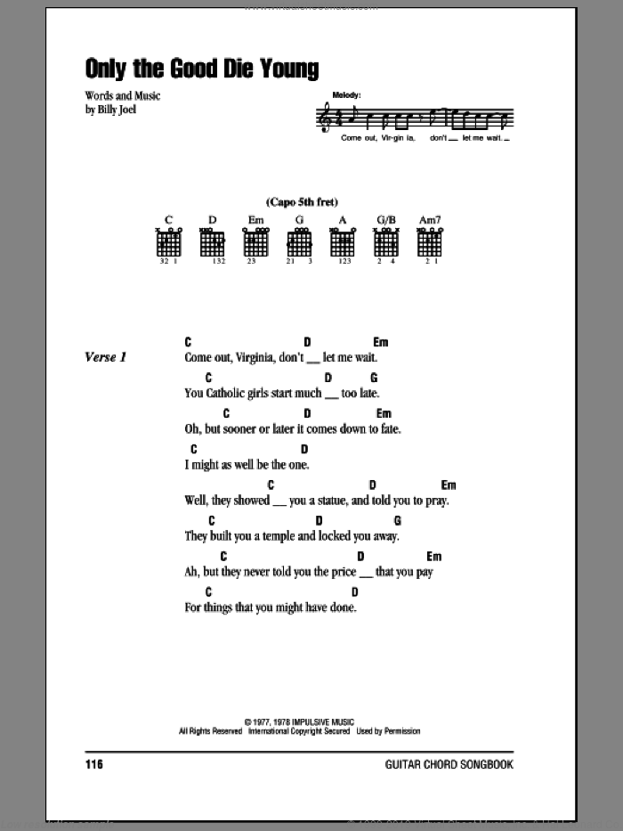 Only The Good Die Young sheet music for guitar (chords) by Billy Joel. Score Image Preview.