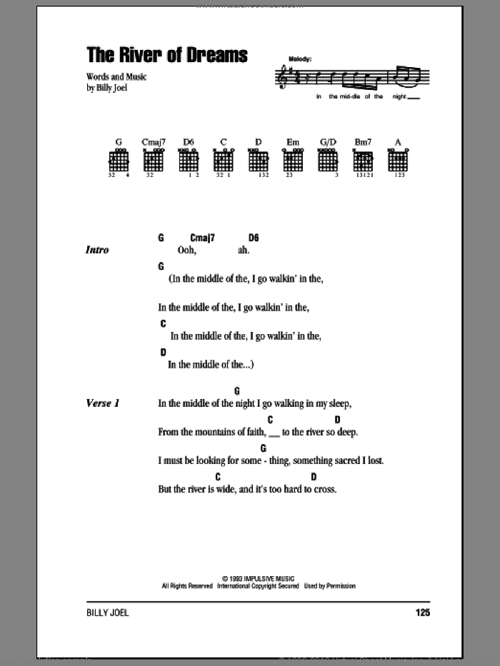 The River Of Dreams sheet music for guitar (chords) by Billy Joel, intermediate guitar (chords). Score Image Preview.