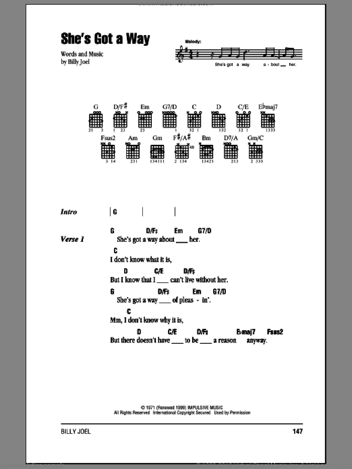 She's Got A Way sheet music for guitar (chords) by Billy Joel, intermediate. Score Image Preview.